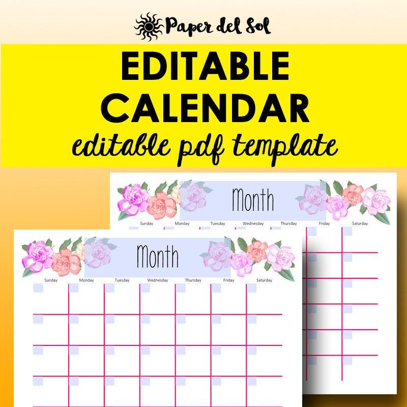 monthly calendar editable template planner printable calendar. Black Bedroom Furniture Sets. Home Design Ideas
