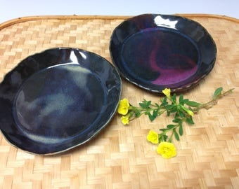 Little plates, set of 2, handmade small plates, ring dishes (16157), handbuilt pottery
