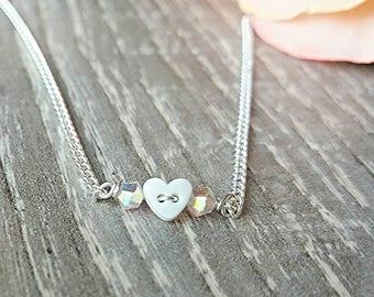 Dainty bracelet, crystal bracelet heart bracelet, stacking bracelet, Swarovski crystal, gift for her, minimalist jewellery, layering jewelry