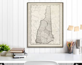 New Hampshire State Map, New Hampshire Map Canvas, Antiqued New Hampshire Map, New Hampshire Wall Decor, Map of New Hampshire Canvas