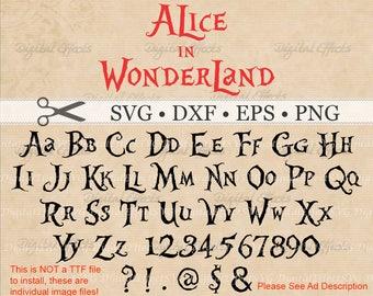 Alice In Wonderland SVG, Dxf, Eps, Png Files, 68 Svg Files, Alphabet, Numbers, 6 Symbols; Silhouette, Alice in Wonderland SVG Font files