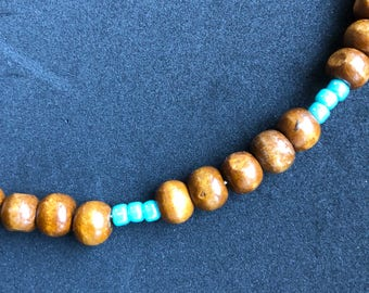 Turquoise and wooden bead choker
