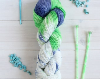 Fionna the Human- Adventure Time themed hand dyed yarn - 100g sparkle sock yarn - superwash merino wool