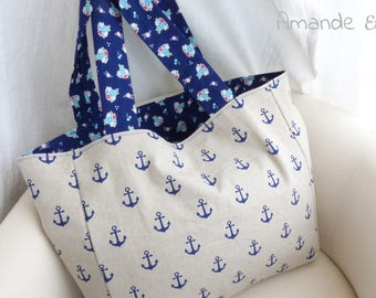 "Bag to make sailor - collection by Amande Etoilée ""Mojito"" - perfect for sea!"
