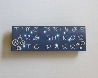 Blue Wood Wall Light, Time Brings All Things To Pass, Inspirational Wall Art, Custom Wood Signs, Wood Home Decor, Wood Night Light