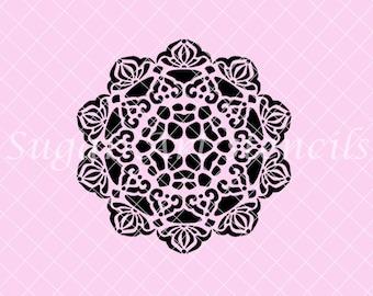 Lace doily mandala stencil NB700349