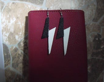 black and White Leather earring