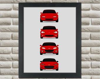 Mazda Miata Generation Poster // MX-5 // na nb nc nd // Mazda Roadster // Eunos Roadster // Japanese Sports Car