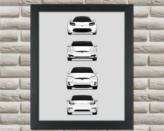 Tesla Generations Car Poster (New Model S) // Tesla Motors // Tesla Roadster // Tesla Model S // Tesla Model X // Tesla Model 3