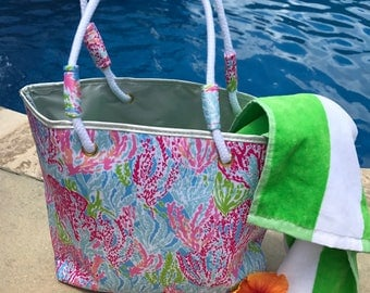 Beach Bag-Monogrammed Beach Bag-Custom Tote-Personalized Tote-Beach Tote-Mother'sDay Gift-Bridesmaid Gift-Gift for Her-Lilly Inspired Tote