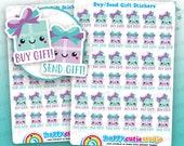 36 Cute Buy Gift/Send Gift/Present/Birthday/Gift Planner Stickers, Filofax, Erin Condren, Happy Planner, Kawaii, Cute Sticker, UK