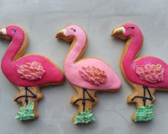 Flamingo cookies, Pink Flamingo favours, Summer party favors,