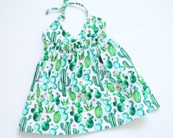Cactus summer dress, baby dress, girls summer dress