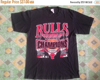 10% Off 15 Percent Off with Coupon Codes!!! Vintage Chicago Bulls 1992 World Champions Back To Back Black Shirt