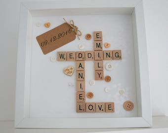 Personalised scrabble frame, wedding gift, anniversary gift