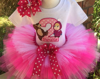 Masha and the Bear Birthday Tutu Outfit Dress Set Handmade in Pinks and White 1st 2nd 3rd