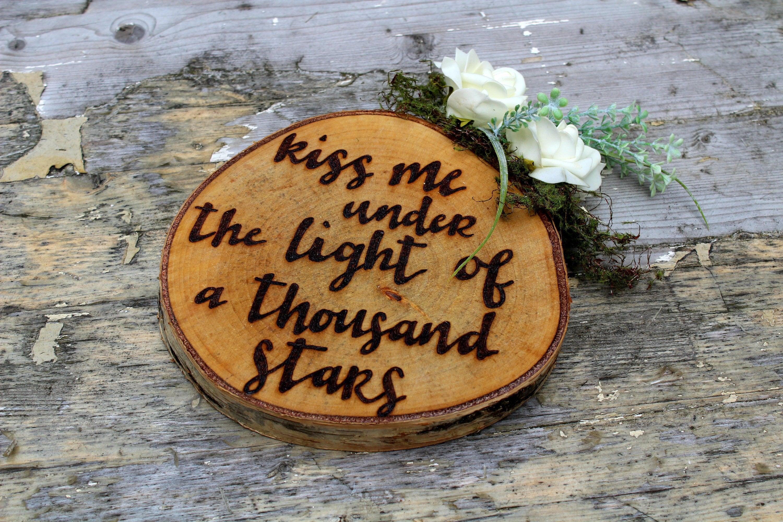 First Dance Song Lyric Wedding Anniversary Gift Log Slice Custom Personalised Present Rustic