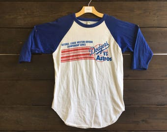 Vintage 80's NLCS  Dodgers/Astros Baseball Tee