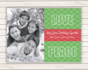 Christmas Card With Photo, Photo Christmas Card, Love and Peace, Simple Christmas Card, Printed Christmas Cards, Holiday Photo Cards