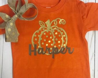 Pumpkin Shirt - Kids Fall Shirt - Baby Pumpkin Shirt - Baby Shirt - Thanksgiving Shirt - Personalized Thanksgiving Shirt - Girls Shirt