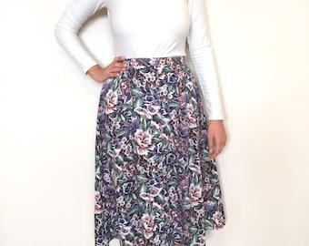 90s/80s floral midi skirt