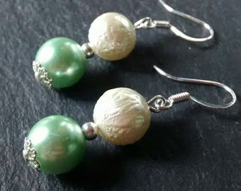 Glass Pearl 'Lily' Earrings in Green