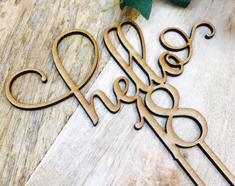 CLEARANCE! 1 ONLY TIMBER Hello 18 Cake Personalised Topper Eighteenth Birthday Cake Topper 18th Birthday Cake Topper Cake Decoration Cake De