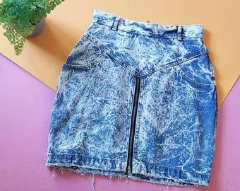 Vintage Acid Wash Denim Skirt