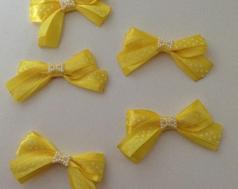 5 flower applique yellow satin bow has polka dots + bow