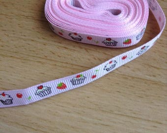 Ribbon GROSGRAIN sold by the yard pink floral cupcake fraise10mm