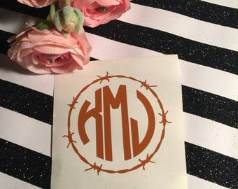 Masculine Monogram Decal , Barbed Wire Decal For Man , Groomsmen Gifts, Beer Glass Decal , Monogram For Men , Gift For Dad , Western Sticker