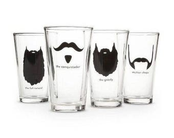 Buxton MPGS-4 Mustache 16 oz Pint Beer Glasses - Set of 4 Mint In the BOX!