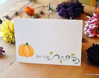 Thanksgiving Cards - Pumpkin / Hand-drawn Fall notecards