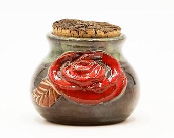Rose Stash Jar | Stash Jar | Herb Jar | Cork Jar | Pottery | Ceramic | Stoneware | Pottery Cork Jar | Ceramic Cork Jar | Handmade Pottery