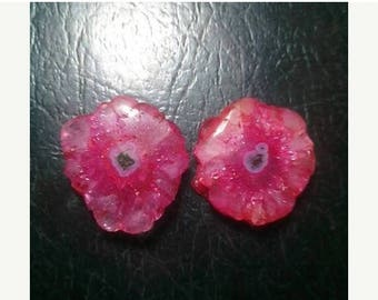 80% OFF SALE Pink Solar Quartz Cabochon Pair
