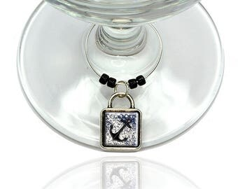 Anchor Nautical Theme Wine Glass Drink Marker Charm Ring