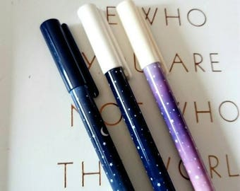 Galaxy pen, star pen, black ink, planner accessories, planner gifts, school supplies, office supplies