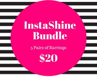 Instashine Button Earrings Bundle-Grab Bag-Earring Bundle-Button Earrings Sets-Mutiple Button Earrings-Multiple Button Clip Ons-Nickel Free
