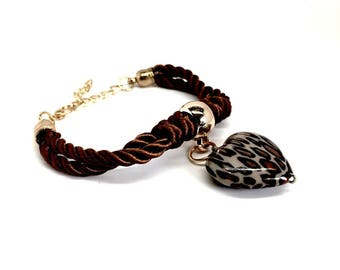 Birthday Gifts for Girls, Bracelet with Heart Charm Pendant, Women's jewellery. FREE luxurious gift box. Available in Brown, Purple and Red