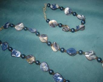 Light blue/Dark blue Necklace and Bracelet Set