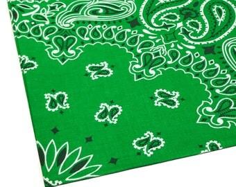 Kelly Green Bandana, Kelly Green Bandanna, Hav-a-Hank Bandanna, 100 percent Cotton, 22 x 22 Bandana, Kelly Green Handkerchief Hankie
