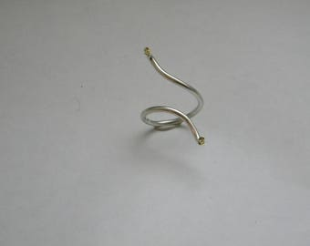 handcrafted contemporary silver gold K18 ring - brilliants