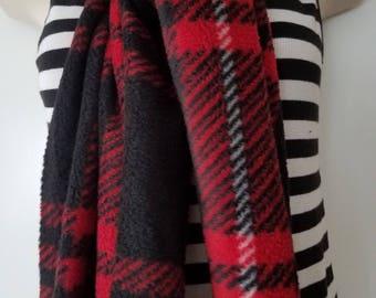 New Handmade Lightweight Red Plaid fleeces Scarf Warm and Flinged.