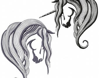 AH 015 Unicorn - Machine Embroidery Design 5*7, 6*8, 8*10  Embroidery Horse