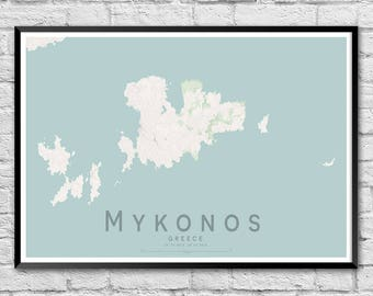 MYKONOS Greek Islands Street Map Print | Unique Wedding Gift | Greek Islands Wall Art Poster | Anniversary Gift | Wall decor | A3 A2