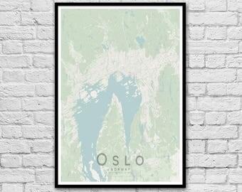 OSLO Map Print | City Map Print | Wall Art Poster | Wall decor | A3 A2