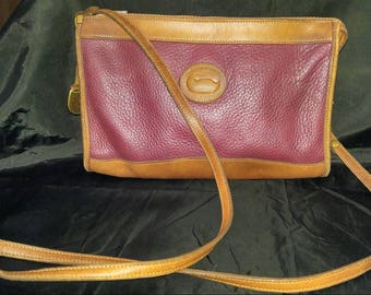 Vintage Dooney & Bourke burgundy and brown leather cross-body bag