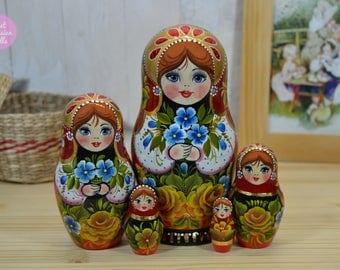 Wooden matryoshka, Gift for woman, Hand painted art dolls, Gift for her, Traditional russian nesting dolls, Handmade babushka, Folk art