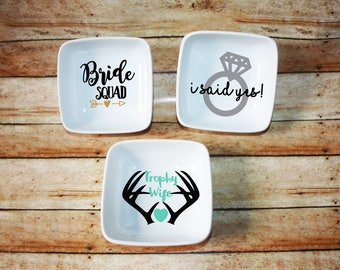 Custom Ring Dish, Bride Squad, Shower Gift, Wedding Gift, Custom Ring Dish, Earring Dish, Bridal Party Gift, I Said Yes, Trophy Wife