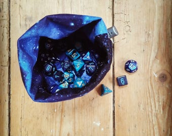 "Dice Bag ""Space is Big"" Reversible, Free Standing, Holds 20 Sets or 140 Dice"